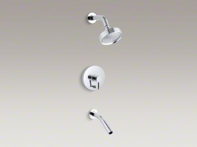 Kohler Stillness® Rite-Temp® pressure-balancing bath and shower faucet trim with lever handle, valve not included K-T948-4