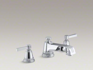 Kohler Pinstripe® deck-mount bath faucet trim for high-flow valve with lever handles, valve not included K-T13140-4B