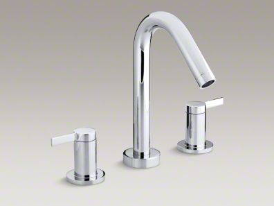 Kohler  Stillness® deck-mount bath faucet trim for high-flow valve with lever handles, valve not included K-T954-4