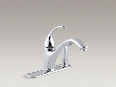 "Kohler Forté® 3-Hole kitchen sink faucet with 9-1/16"" spout with matching finish sidespray in escutcheon K-10413"