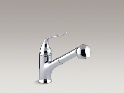"""Kohler Coralais® Single-hole or three-hole kitchen sink faucet with pullout matching color sprayhead, 9"""" spout and lever handle K-15160"""