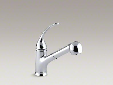 """Kohler Coralais® Single-hole or three-hole kitchen sink faucet with pullout matching color sprayhead, 9"""" spout and loop handle K-15160-L"""