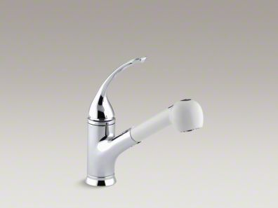 "Kohler Coralais® Single-hole or three-hole kitchen sink faucet with pullout White sprayhead, 9"" spout and loop handle K-15160-LA-CP"