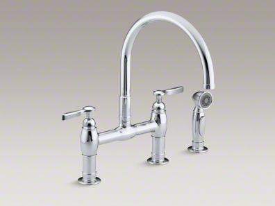 "Kohler Parq® Two-hole deck-mount bridge kitchen sink faucet with 9"" gooseneck, matching finish sidespray and lever handles K-6131-4"