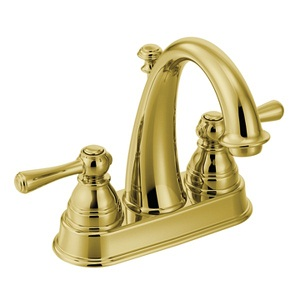 Moen Kingsley Two Handle Hi - Arc Bathroom Faucet in Polished Brass 6121P