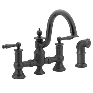 Moen Waterhill Two Handle High - Arc Kitchen Faucet in Wrought Iron S713WR