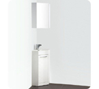 "Coda 14"" White Modern Corner Bathroom Vanity Finish / Faucet Style: Brushed Nickel / Savio"