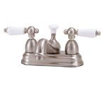 Elizabethan Classics CS02SN Centerset Bathroom Faucet - Satin Nickel With Porcelain Lever Handles