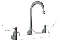 Elkay Brass Exposed Deck Dual Handle Top Mount Commercial Faucet LK810GN04T4