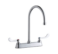 Elkay Brass Exposed Deck Dual Handle Top Mount Commercial Faucet LK810GN08T4