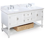 Beverly 60-inch Bathroom Vanity (White/White): Includes a White Solid Wood Cabinet, Soft Close Drawers, a Marble Countertop, and Two Ceramic Sinks