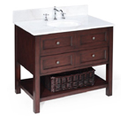 New Yorker 36-inch Bathroom Vanity (White/Chocolate): Includes a Chocolate Solid Wood Cabinet, Soft Close Drawers, a White Marble Countertop, and a Ceramic Sink