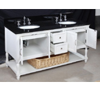 Beverly 60-inch Bathroom Vanity (Black/White): Includes a White Cabinet, Soft Close Drawers, a Granite Countertop, and Two Ceramic Sinks