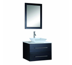Virtu USA MS-560 Marsala 30-Inch Wall-Mounted Single Sink Bathroom Vanity with White Stone Countertop, Faucet and Mirror, Espresso Finish