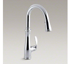 "Kohler K-560-CP Bellera Single Hold or Three Hole Kitchen Faucet with Pull Down 7-7/8"" Spout and Right Hand Lever Handle - Polished Chrome"