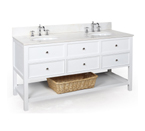 New Yorker 60-inch Bathroom Vanity (White/White): Includes a White Solid Wood Cabinet, Soft Closed Drawers, a Marble Countertop, and Two Ceramic Sinks