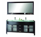 Virtu USA MD-499 Ava 63-Inch Double Sink Bathroom Vanity with Mirror with Shelf, Faucets and Integrated Glass Basins - Espresso Finish