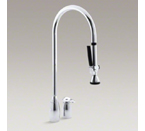 """Kohler K-6330-CP ProMaster Two Hole Kitchen Sink with Overhead 27-1/2"""" Spout with Pull Out Handspray and Lever Handle - Polished Chrome"""