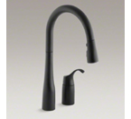 "Kohler K-647-BL Simplice Pull Down 16-1/8"" Swing Spout Kitchen Faucet - Matte Black"