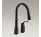 "Kohler K-649-BL Simplice Two Hold Kitchen Faucet with 14-3/4"" Pull Down Swing Spout - Matte Black"