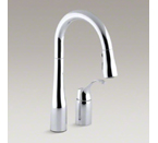 "Kohler K-649-CP Simplice Two Hole Kitchen Faucet with 14-3/4"" Pull Down Swing Spout - Polished Chrome"