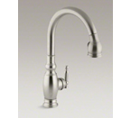 "Kohler K-690-BN Vinnata Pull Down 16-5/8"" Spout and Lever Handle Kitchen Faucet - Vibrant Brushed Nickel"