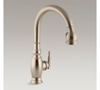 "Kohler K-690-BV Vinnata Pull Down 16-5/8"" Spout and Lever Handle Kitchen Faucet - Vibrant Brushed Bronze"