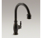 "Kohler K-690-2BZ Vinnata Pull Down 16-5/8"" Spout and Lever Handle Kitchen Faucet - Oil Rubbed Bronze"