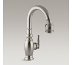 "Kohler K-691-VS Vinnata Pull Down 15-1/8"" Spout and Lever Handle - Vibrant Stainless"