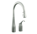 KOHLER K-647-VS Simplice Pull-Down Kitchen Sink Faucet - Vibrant Stainless
