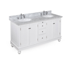 Bella 60-inch Bathroom Vanity (Carrera/White): Includes an Italian Carrera Marble Countertop, a White Cabinet, Soft Close Drawers, and Two Ceramic Sinks