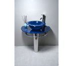 Bathroom Vanities Pedestal Glass Blue Sink Combo with Faucet