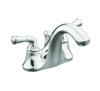 KOHLER K-10270-4A-CP Forte Centerset Lavatory Faucet with Traditional Lever Handles - Polished Chrome