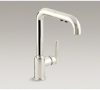 "Kohler K-7505-SN Purist Single Hole Kitchen Faucet with 8"" Pullout Spout - Vibrant Polished Nickel"