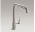 "Kohler K-7505-VS Purist Single Hole Kitchen Sink Faucet with 8"" Pullout Spout - Vibrant Stainless"