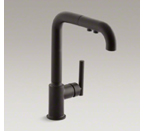 "Kohler K-7505-BL Purist Single Hole Kitchen Sink Faucet with 8"" Pullout Spout - Matte Black"