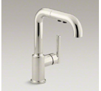 "Kohler K-7506-SN Purist Single Hole Kitchen Sink Faucet wit 7"" Pullout Spout - Vibrant Polished Nickel"