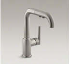 "Kohler Purist K-7506-VS Purist Single Hole Kitchen Sink Faucet with 7"" Pullout Spout - Vibrant Stainless"