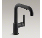 "Kohler K-7506-BL Purist Single Hole Kitchen Sink Faucet with 7"" Pullout Spout - Matte Black"