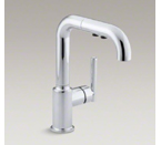 "Kohler K-7506-CP Purist Single Hole Kitchen Faucet with 7"" Pullout Spout - Polished Chrome"