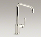 "Kohler K-7507-SN Purist Single Hole Kitchen Sink Faucet with 8"" Spout - Vibrant Polished Nickel"
