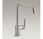 "Kohler K-7507-VS Purist Single Hole Kitchen Sink Faucet with 8"" Spout - Vibrant Stainless"