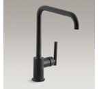 "Kohler K-7507-BL Purist Single-Hole Kitchen Sink Faucet with 8"" Spout - Matte Black"
