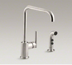 "Kohler K-7508-VS Purist Two Hole Kitchen Sink Faucet with 8"" Spout and Matching Finish Sidespray - Vibrant Stainless"