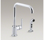 """Kohler K-7508-CP Purist Two Hole Kitchen Sink Faucet with 8"""" Spout and Matching Finish Sidespray - Polished Chrome"""