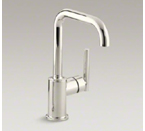 "Kohler K-7509-SN Purist Single Hole Kitchen Sink Faucet with 6"" Spout - Vibrant Polished Nickel"