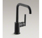 "Kohler K-7509-BL Purist Single Hole Kitchen Sink Faucet with 6"" Spout - Matte Black"