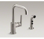 "Kohler K-7511-VS Purist Two Hole Kitchen Sink Faucet with 6"" Spout and Matching Finish Sidespray - Vibrant Stainless"
