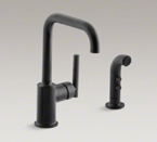"Kohler K-7511-BL Purist Two Hole Kitchen Sink Faucet with 6"" Spout and Matching Finish Sidespray - Matte Black"