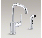 "Kohler K-7511-CP Purist Two Hole Kitchen Sink Faucet with 6"" Spout and Matching Finish Sidespray - Polished Chrome"